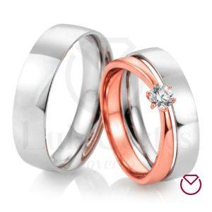 Argolla Matrimonio y Anillo de Compromiso Oro Plata LCAMAC-02