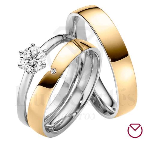 Argolla Matrimonio y Anillo de Compromiso Oro Plata LCAMAC-01