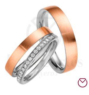 Argolla Matrimonio y Anillo de Compromiso Oro Plata LCAMAC-04