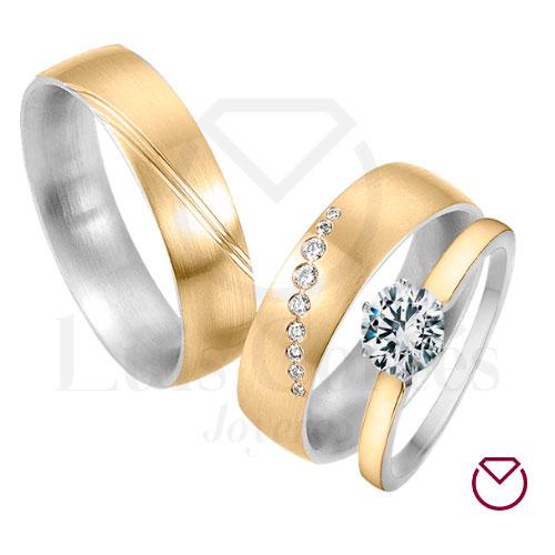 Argolla Matrimonio y Anillo de Compromiso Oro Plata LCAMAC-03