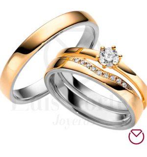 Argolla Matrimonio y Anillo de Compromiso Oro Plata LCAMAC-05