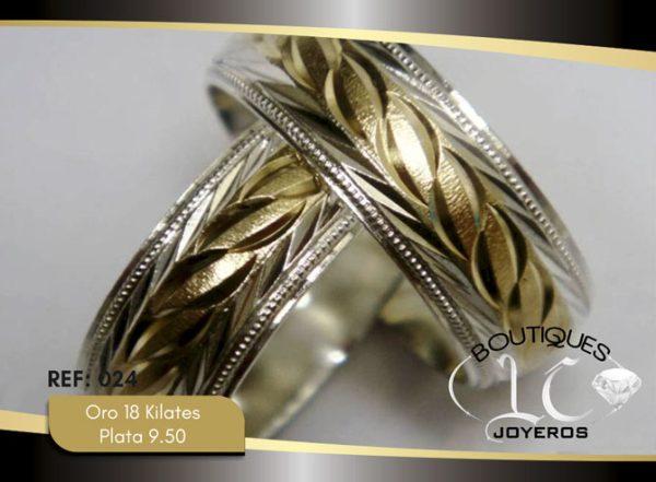 Argolla de matrimonio oro plata LCAOP-024