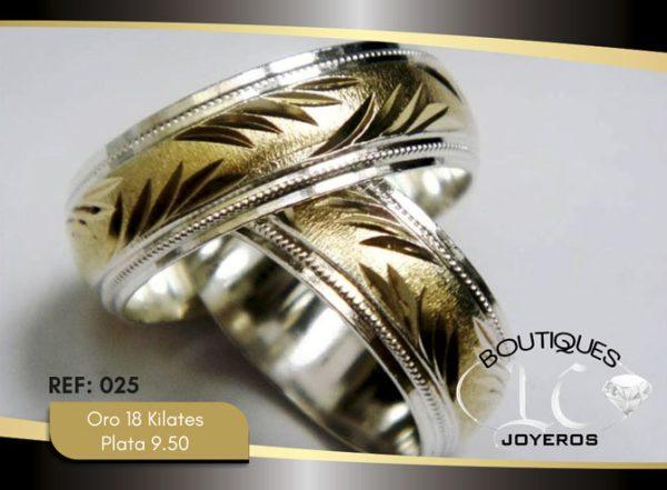 Argolla de matrimonio oro plata LCAOP-025