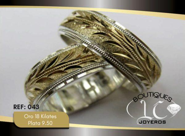 Argolla de matrimonio oro plata LCAOP-043