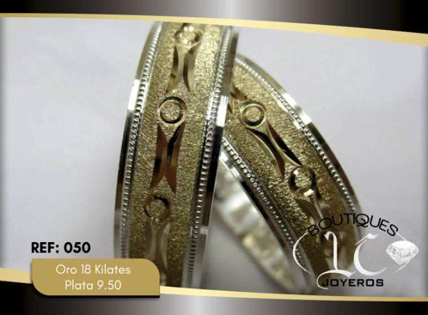 Argolla de matrimonio oro plata diamantada LCAOP-050