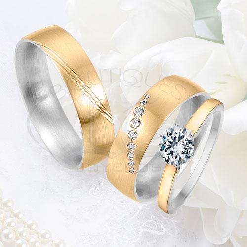2cddac664828 Argolla Matrimonio y Anillo de Compromiso Oro Plata LCAMAC-03
