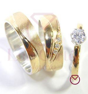 Argolla Matrimonio y Anillo de Compromiso Oro Plata LCAMAC-07