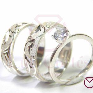 Argolla Matrimonio y Anillo de Compromiso Plata LCAMAC-10
