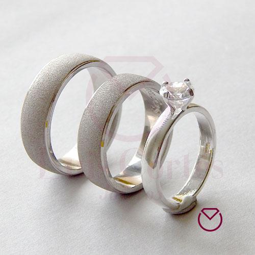 Argolla Matrimonio y Anillo de Compromiso Oro Plata LCAMAC-12