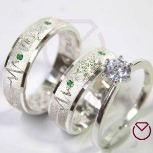 Argolla Matrimonio y Anillo de Compromiso Plata LCAMAC-09