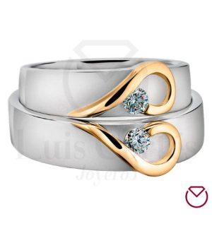 Argollas De Matrimonio Oro Plata Especiales LCAOPE-07