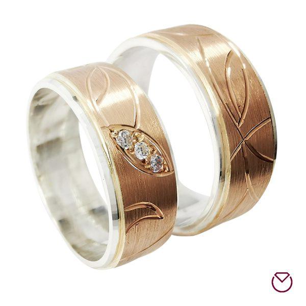 Argollas De Oro Rosa-Plata Especiales / REF. 063AOP